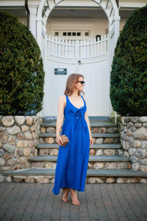 mara hoffman lace up maxi dress in cobalt on shopbop