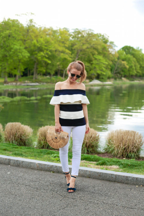 Ann Taylor Off The Shoulder Ruffle Sweater and Ann Taylor Erica Suede Bow Sandals