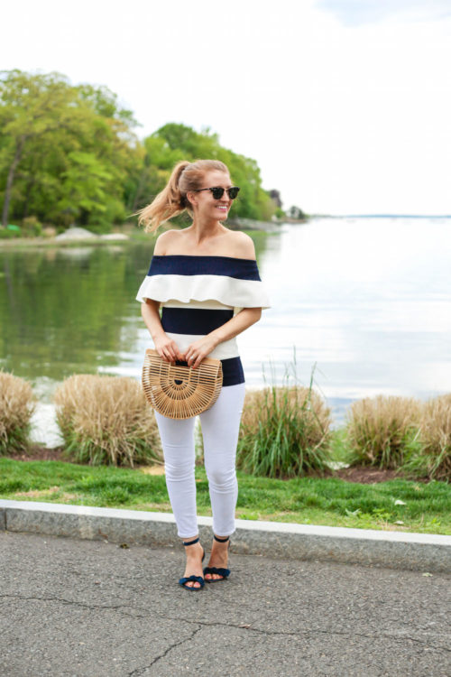 Ann Taylor Off The Shoulder Ruffle Sweater and Ann Taylor Erica Suede Bow Sandals in Navy Blue