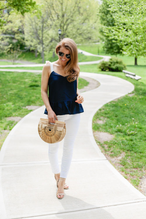 J.Crew silk tie-shoulder peplum top in navy blue