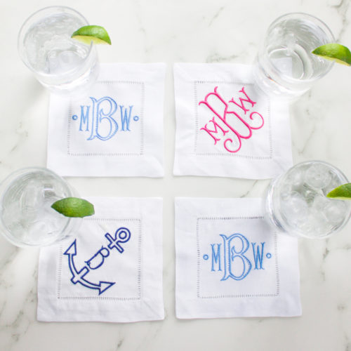 anchor monogrammed cocktail napkins etsy