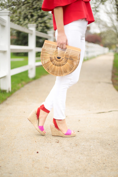 j.crew lookout high-rise jean in white with cult gaia small ark bag and loeffler randall harper espadrille wedges