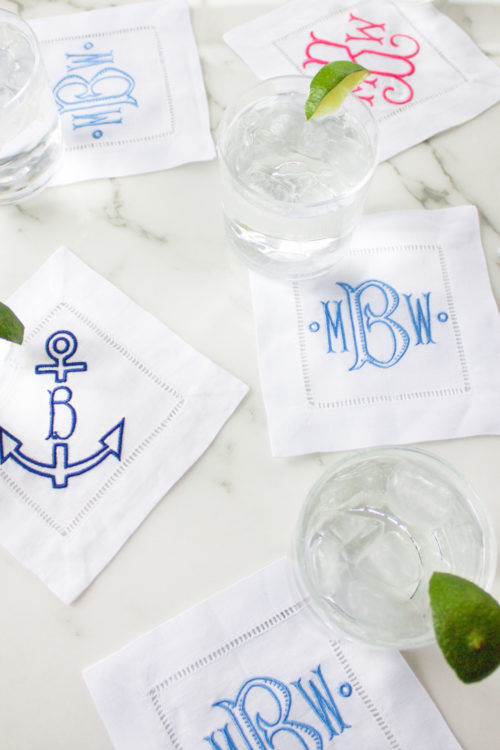 monogrammed cocktail napkins from etsy
