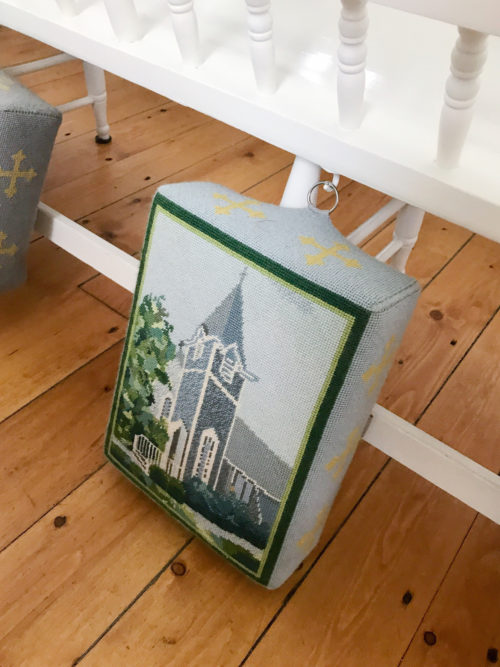 needlepoint kneelers at sconset chapel on design darling