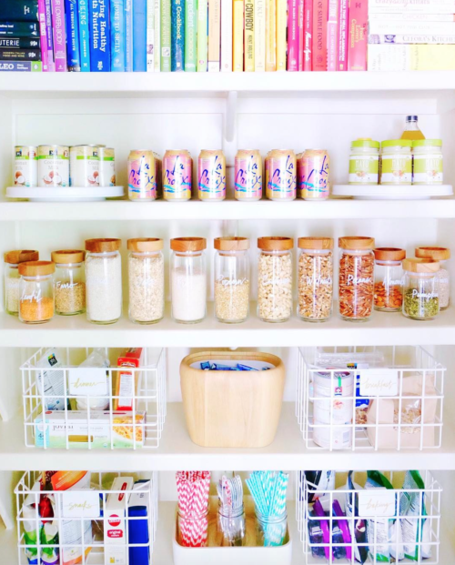 color coded pantry the home edit