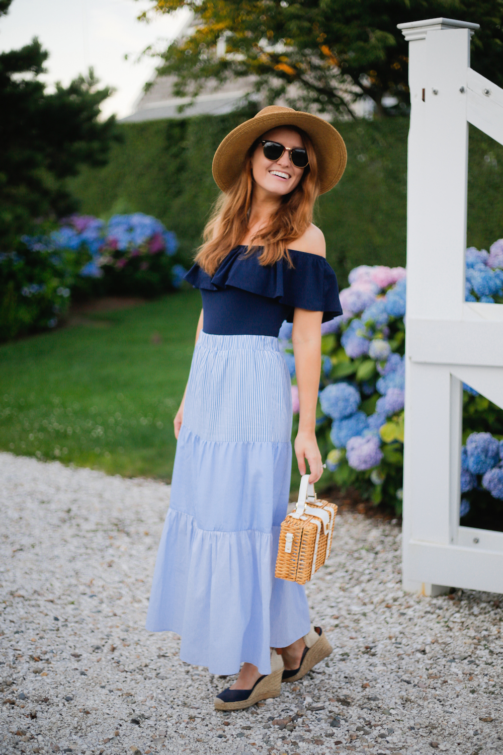 tuckernuck packable hat j.crew off-the-shoulder ruffle top tuckernuck emerson striped maxi skirt