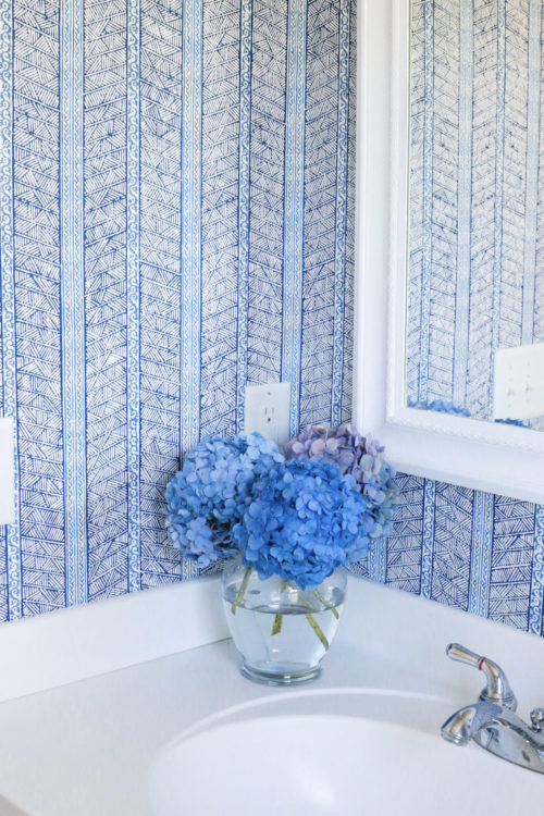 design darling bathroom blue and white wallpaper