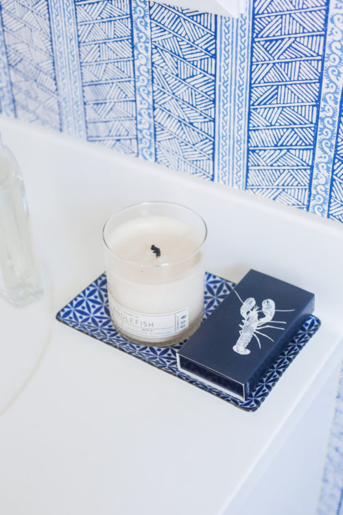 design darling candlefish candle and peter fasano jaya wallpaper in blue and white