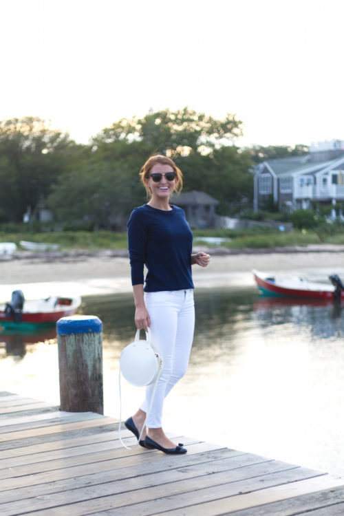 design darling j.crew navy tippi sweater clare v petit alistair white circle bag and ferragamo varina leather flats in navy