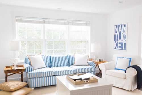 design darling nantucket print and striped sofas