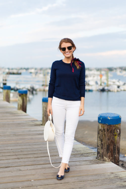 j.crew tippi sweater in navy with ferragamo varina flats in navy