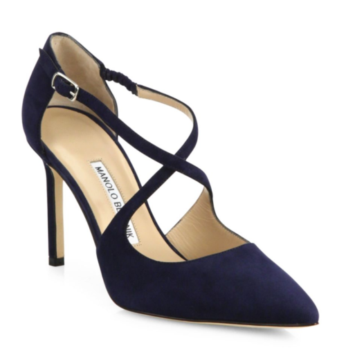 manolo blahnik umice suede crisscross pumps in navy blue