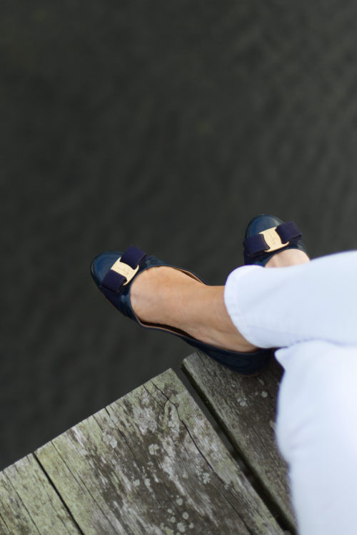 salvatore ferragamo varina leather flats in navy on design darling