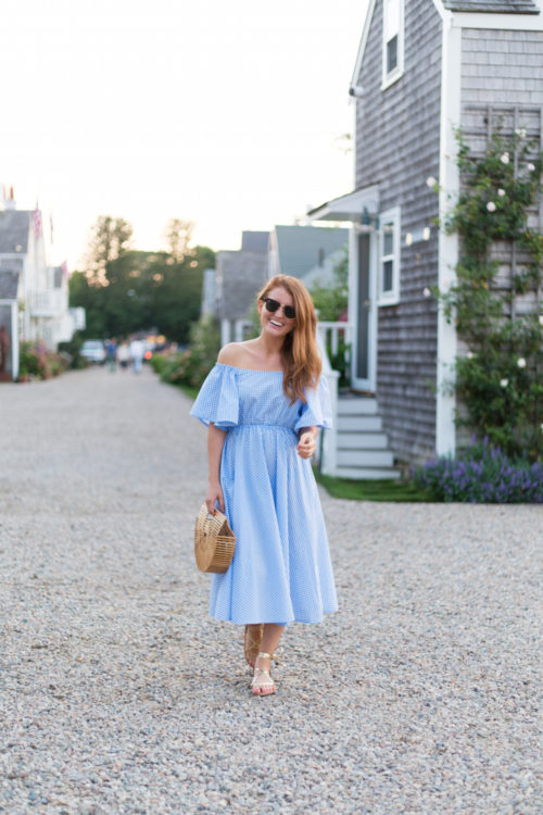 stylekeepers long gingham dress and k. jacques lucile wrap sandals in gold