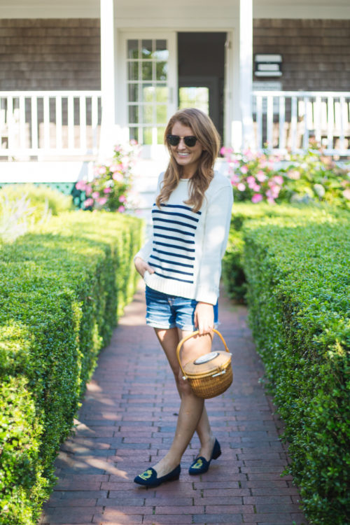 j.crew the 1988 striped rollneck sweater with jean shorts and nantucket lightship basket on design darling