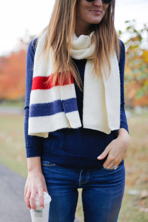 navy and red striped scarf on design darling