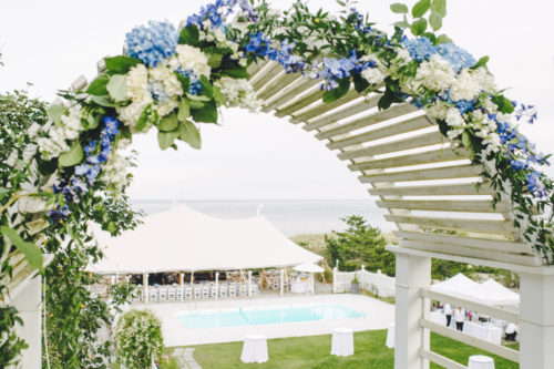 summer house nantucket arbor decorated for wedding