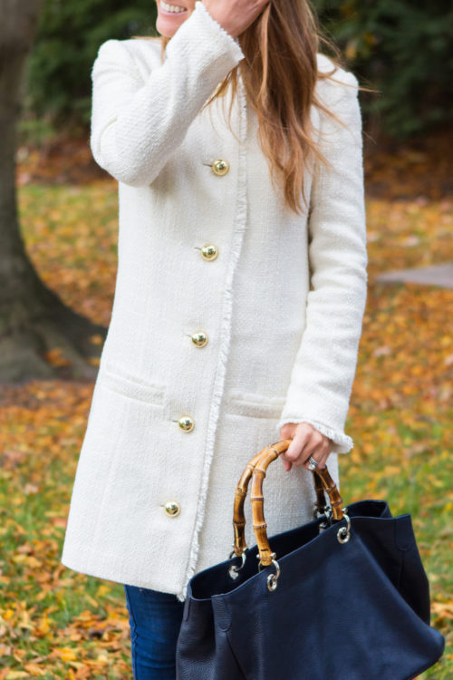 white tweed coat and mark and graham bamboo handle bag