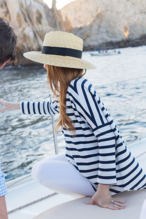 brixton joanna hat and tuckernuck toss designs capri swing sweatshirt in navy and white stripe