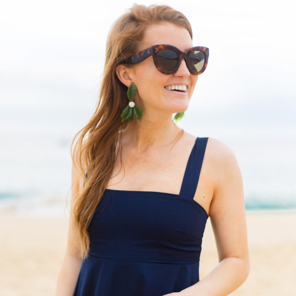celine caty sunglasses tuckernuck green allegro earrings do+be midnight havana maxi dress and frances valentine honey pot straw bag