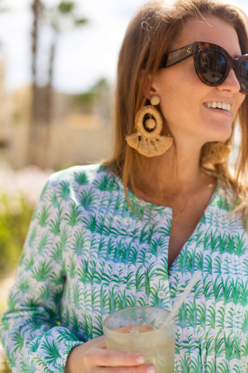 celine caty sunglasses tuckernuck raffia dreamcatcher earrings and persifor beau palm print top