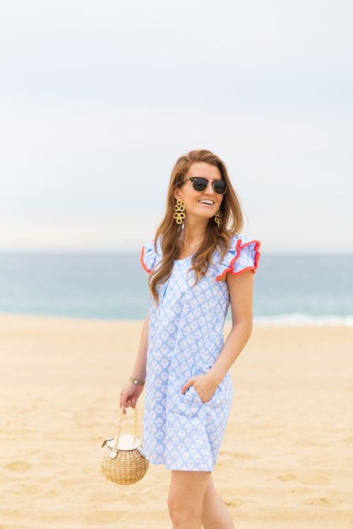 lisi lerch ginger earrings and persifor clare flutter dress