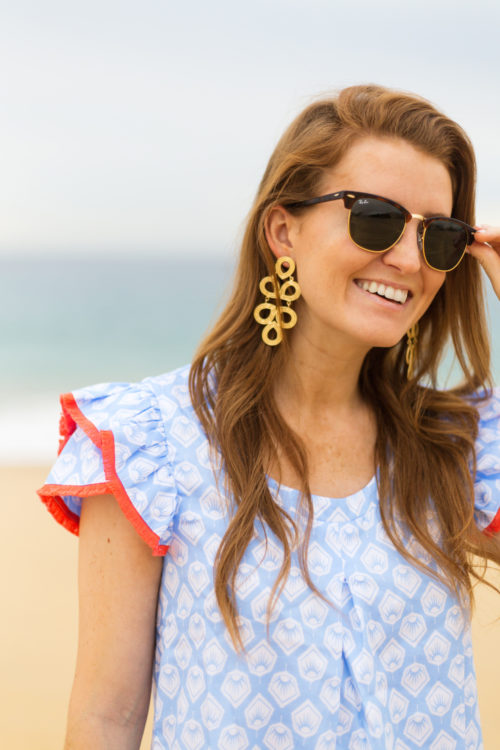 ray-ban clubmasters lisi lerch ginger earrings and persifor clare flutter dress