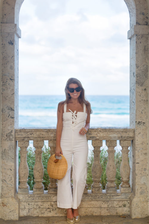 clayton darcie jumpsuit and j.mclaughlin circle wicker bag