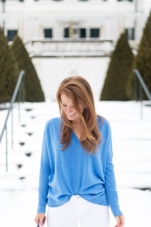 j.crew V-neck Boyfriend sweater in everyday cashmere in mediterranean coast