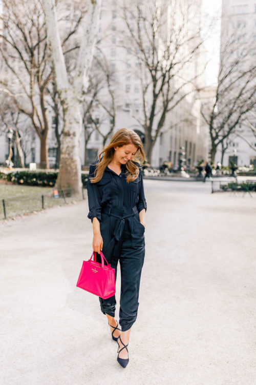 milly silk mechanic jumpsuit and kate spade sam bag