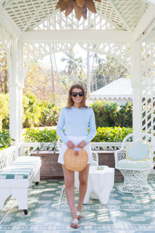 petit bateau mythique sweater and j.mclaughlin natural victoria circular wicker bag at playa grande beach club