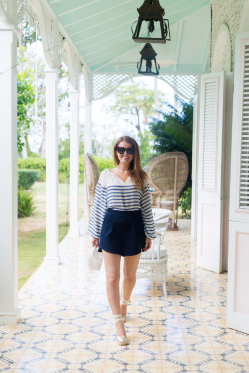 vince camuto ladder stripe peasant blouse and milly italian cady petal trapunto shorts at playa grande beach club