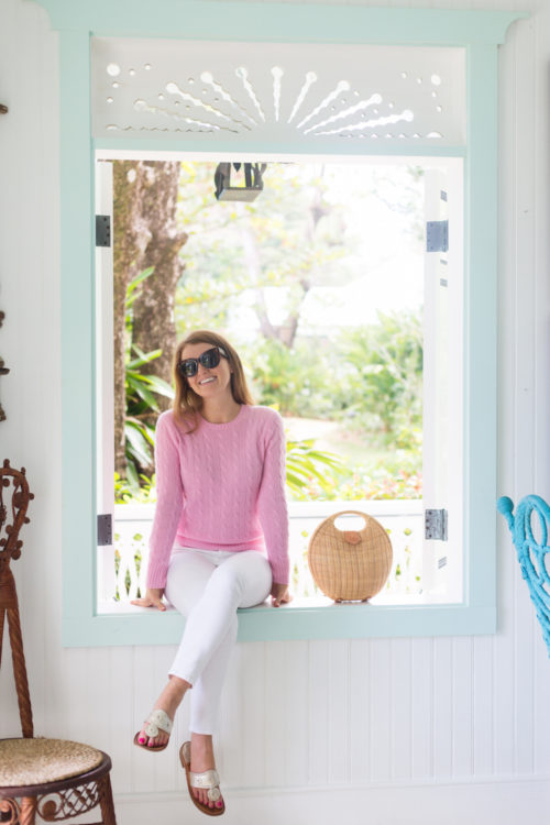 design darling pink cable knit sweater at playa grande beach club dominican republic