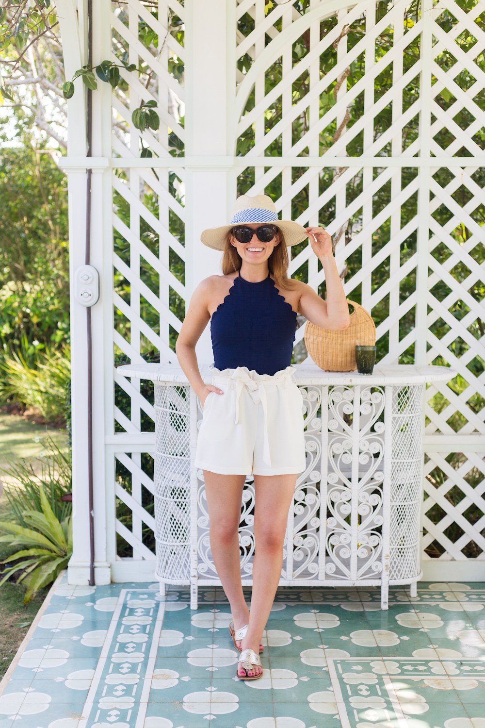 marysia swim scalloped one piece and amanda uprichard tessi shorts on design darling