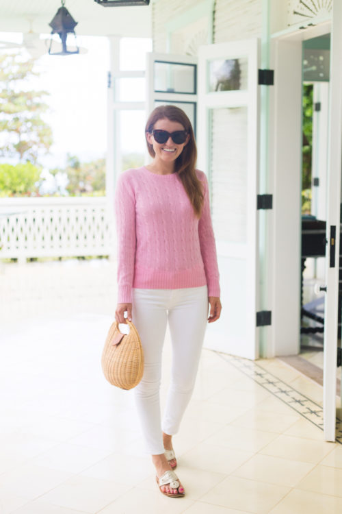 pink cable knit sweater on design darling
