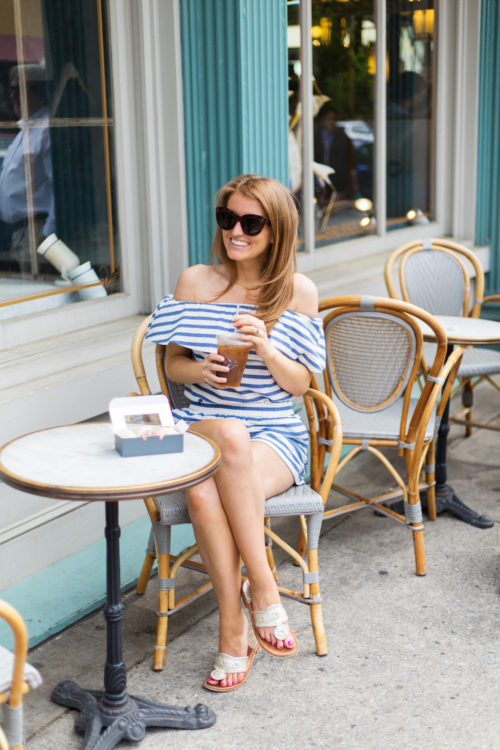 southern tide striped off the shoulder top and shorts on design darling