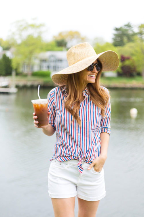 j.crew classic-fit boy shirt in red-and-blue stripe straw sun hat and white denim shorts