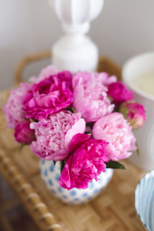 pink peonies on serena & lily south seas side cart