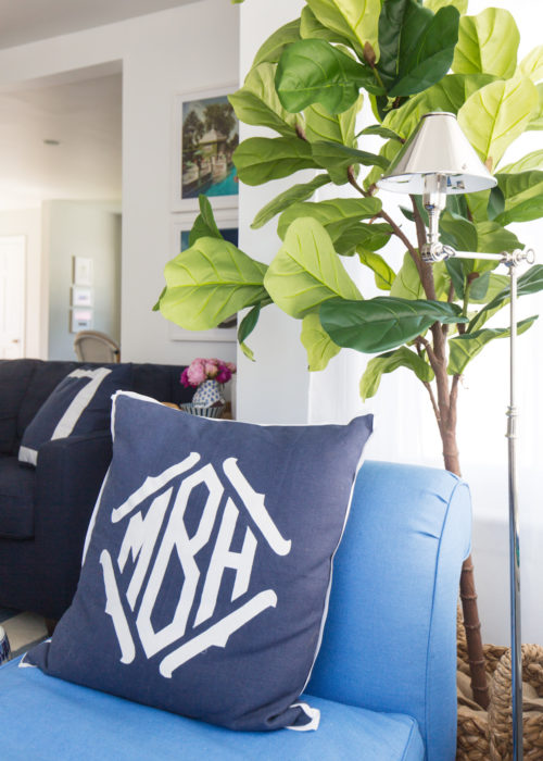 pottery barn faux potted fiddle leaf tree in design darling living room