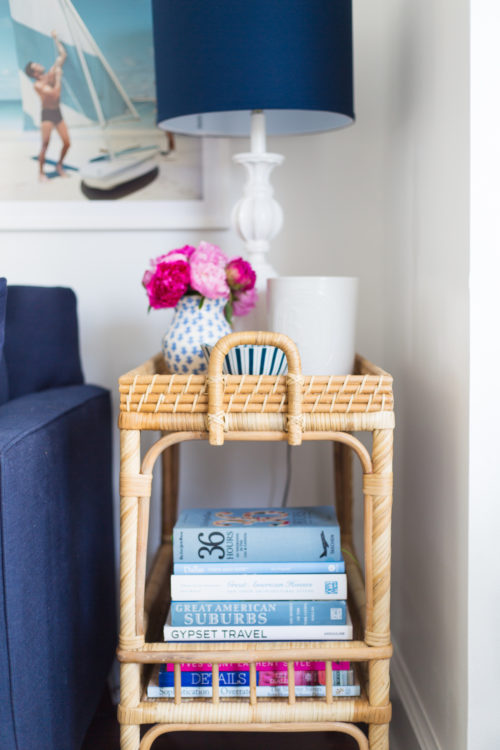 serena & lily south seas side cart with coffee table books