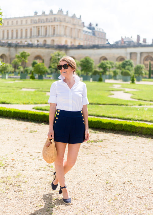 white short sleeve button down shirt and navy sailor shorts on design darling