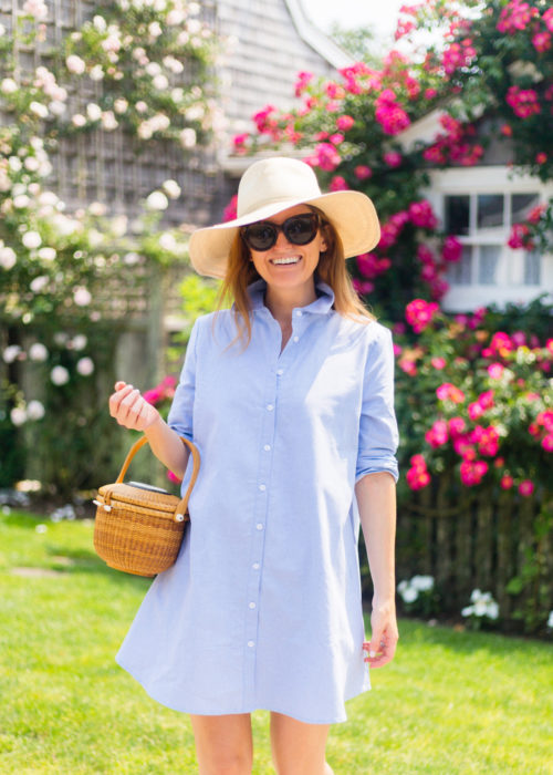 bb dakota cleans up well shirt dress and cuyana summer hat