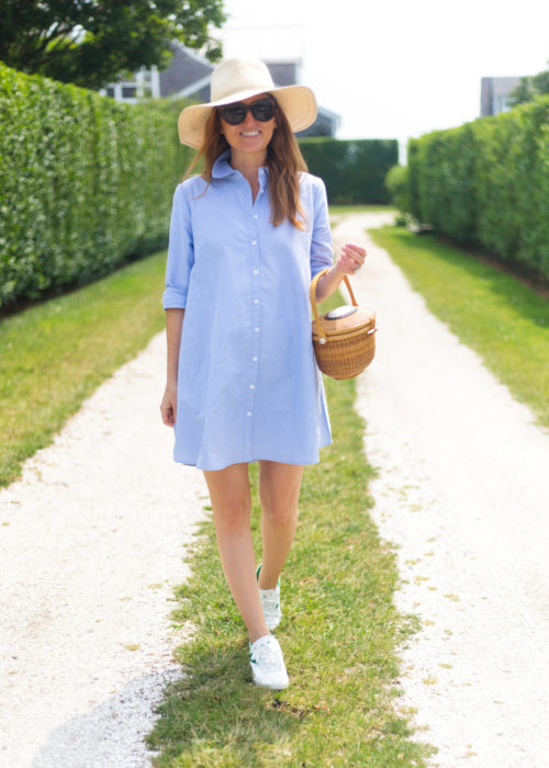 blue oxford shirtdress and nantucket lightship basket on design darling
