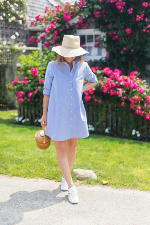 cuyana summer hat bb dakota cleans up well shirtdress and nantucket lightship basket