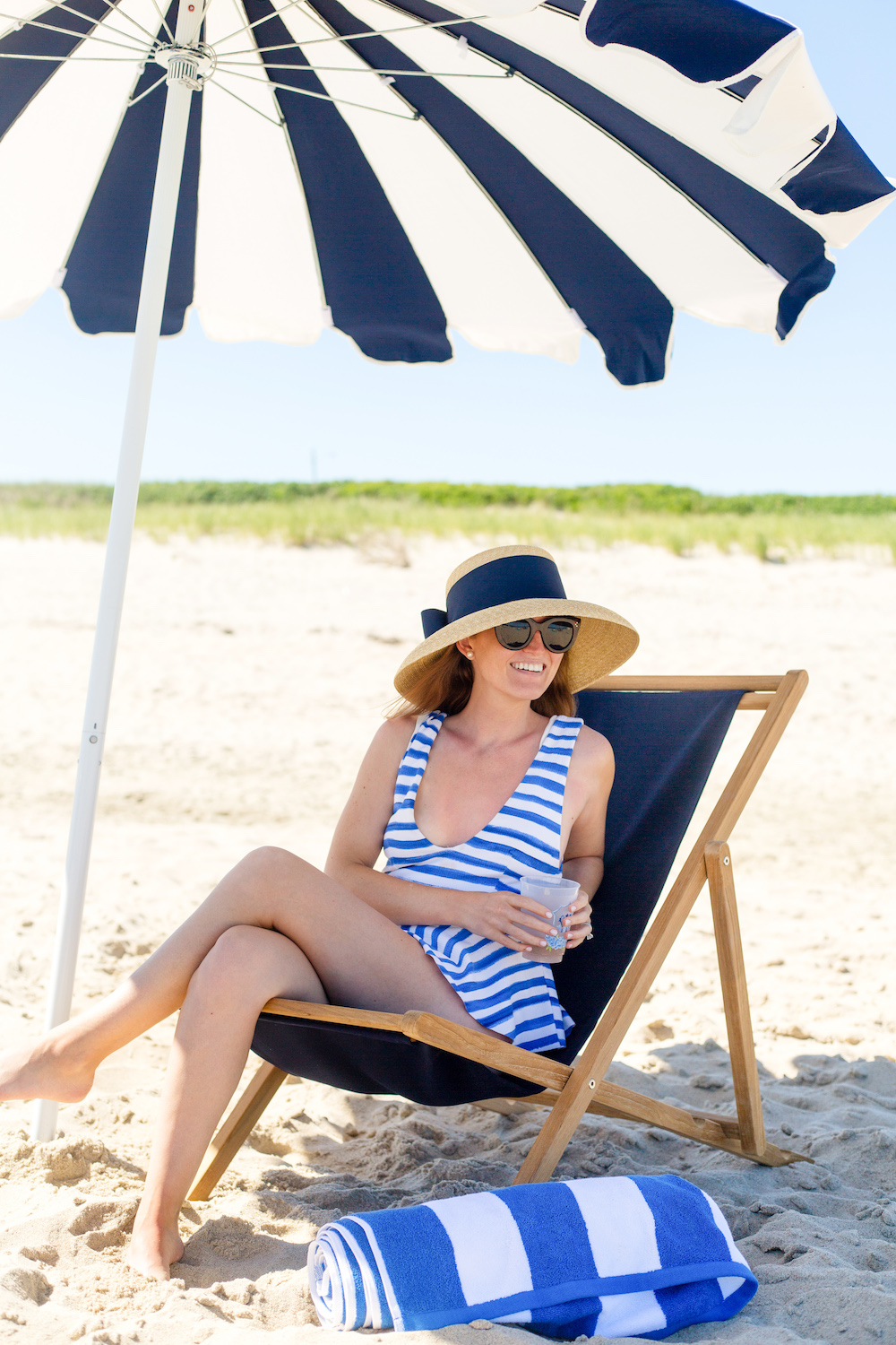 serena & lily eastport striped umbrella and j.crew marysia gramercy skirted maillot one-piece swimsuit in watercolor stripe