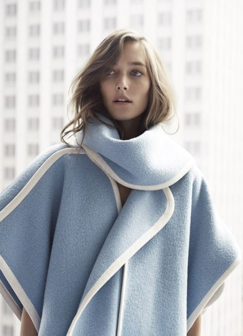 blue cape coat white trim