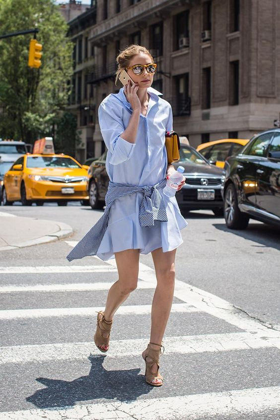olivia palermo blue shirtdress with gingham shirt and aquazurra suede heels