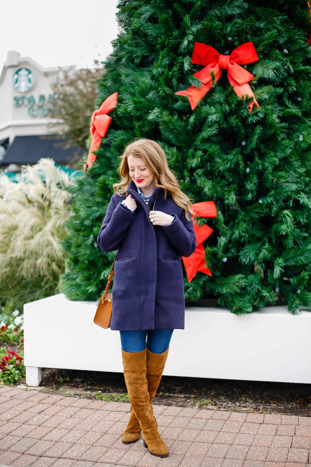 8bbe12e8c j-crew-cocoon-coat-in-navy-and-j-crew-suede-over-the-knee-boots-on-design- darling