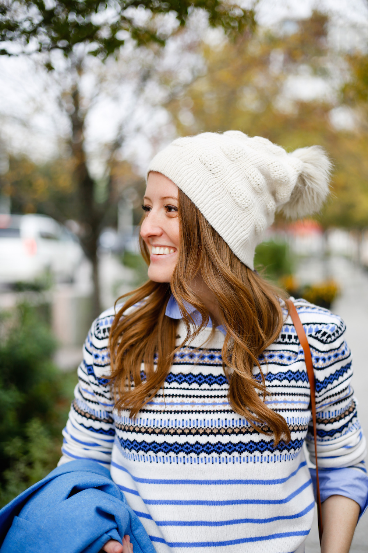 558c7a8a7c8 white-faux-fur-pom-pom-beanie-with-j-crew-fair-isle-sweater - Design ...