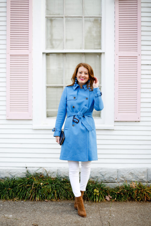 design darling belted trench coat from j.crew with white jeans and suede booties